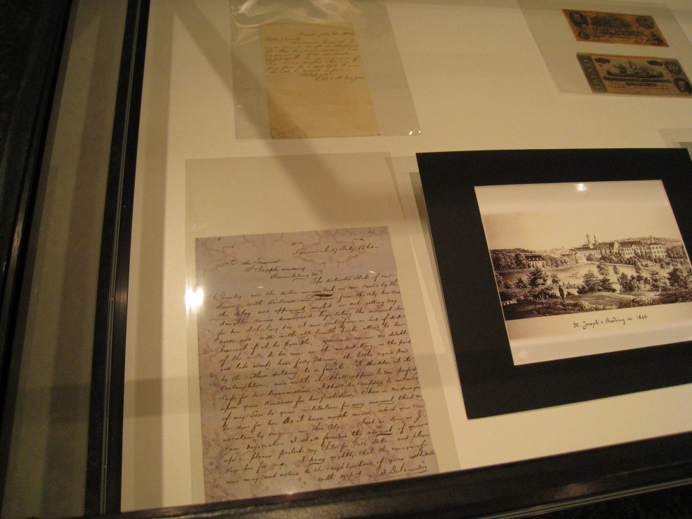 Left: Letter from parent of St. Joseph's Academy student from the South  asking the Sisters to keep his daughter safe. Right: St. Joseph's Academy in 1846