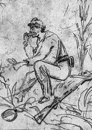 Sketch of soldier eating