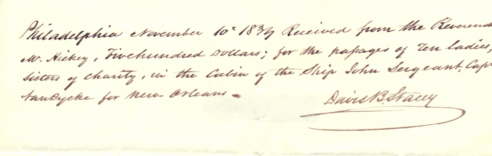 Sisters travel receipt November 10, 1833