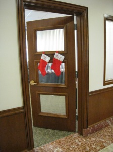 Office door with stockings