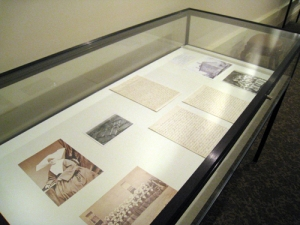 Philadelphia exhibit - case showing Sr. Mary Gonzaga Grace and Gonzaga Home