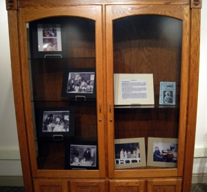 Philadelphia exhibit - case showing St. Joseph Hall for Girls and Ghebre Michael Inn.