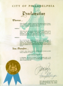 Seton Proclamation from City of Philadelphia