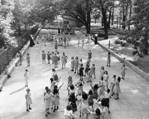 St. Vincent Orphan Home Drexel Hill, children on playground, 1943