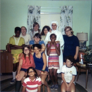 St. Joseph Hall for Girls, unidentified Sister and students, early 1970s