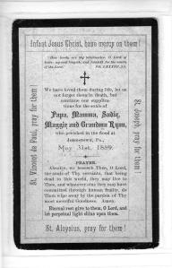 Prayer card, Sr. Mary Grace Ryan