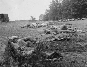 Dead Confederates near the Rose Farm and Peach Orchard (courtesy Library of Congress Prints and Photographs Division, Washington, DC)