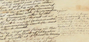 Detail from image #5 showing crossed out text and annotations