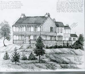 Sketch of Stokes Mansion by Sister Fides Ruffner, S.C.