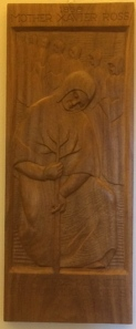 Wood carving of Mother Xavier Ross by Sister Bernardine Hon, S.C.L. (courtesy Sisters of Charity of Leavenworth)