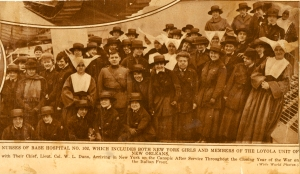 Newsclipping showing the Sisters' arrival in New York in April of 1919.