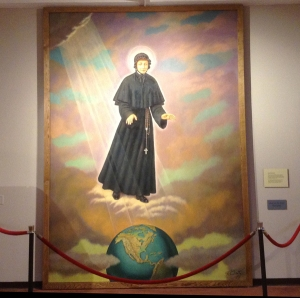 Elizabeth Ann Seton canonization banner, now on display in the Seton Shrine Museum (image used with permission of the Provincial Archives)