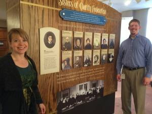 Ruth Bielobocky and Tony DiIulio in front of the new Sisters of Charity Federation exhibit at the Seton Shrine (Photo  reproduced with permission of Ruth Bielobocky and Tony DiIulio)